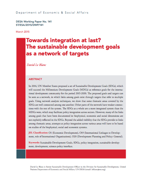 Towards integration at last? The sustainable development goals as a network of targets - DESA
